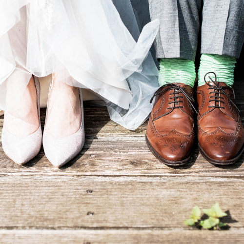 Alternative wedding ideas - image of bride and groom shoes