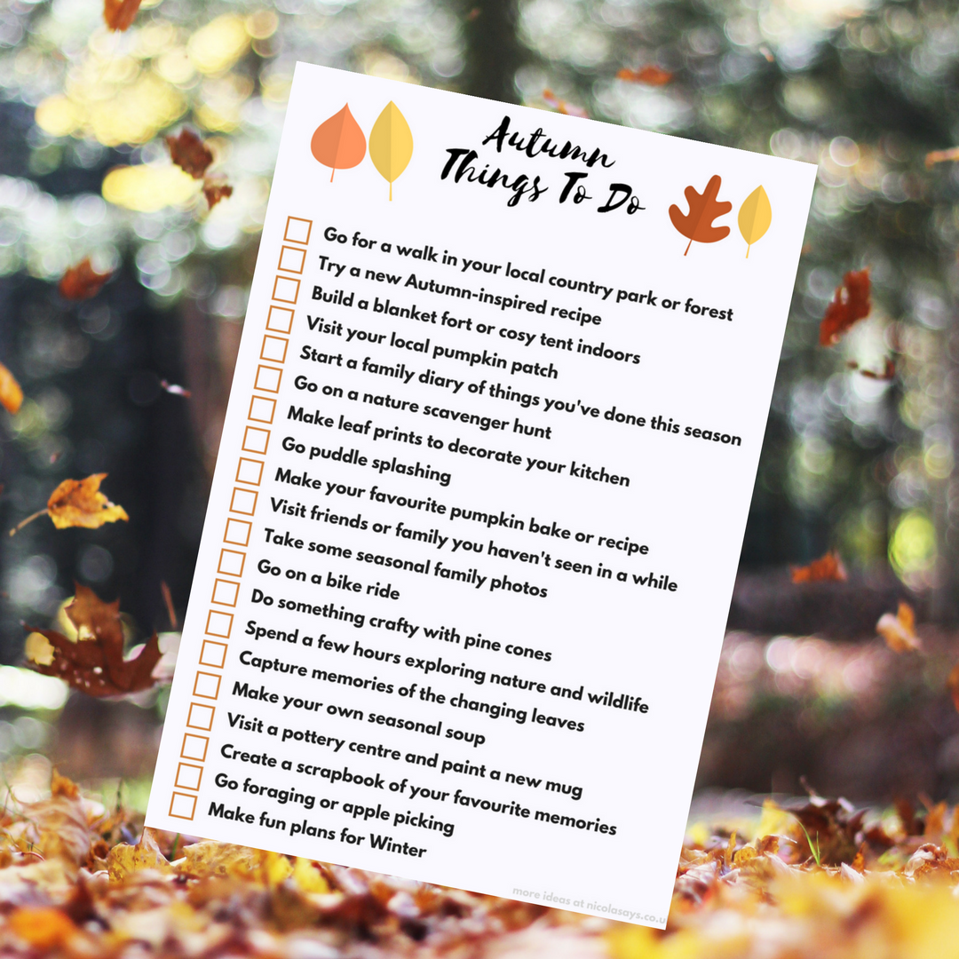 Things to do in Autumn - a family bucket list, family activity ideas