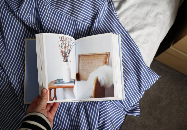 Calm bedroom makeover ideas and inspiration, including this book on hygge