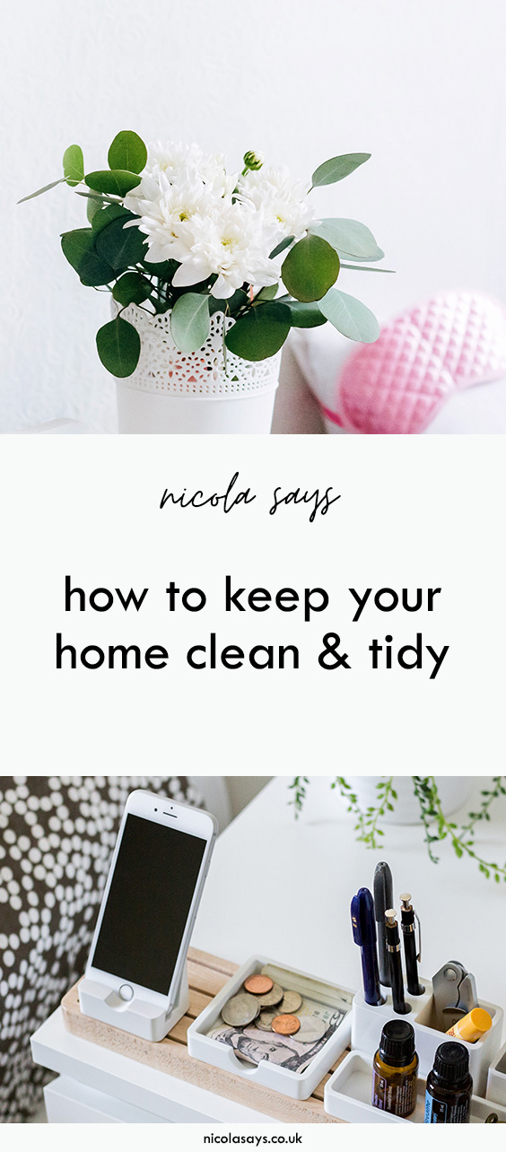 8 Steps to a cleaner, tidier home that you love. Discover how I keep on top of daily cleaning and housework, some tips and advice on getting through it all and a free printable cleaning schedule for you to organise your life with.