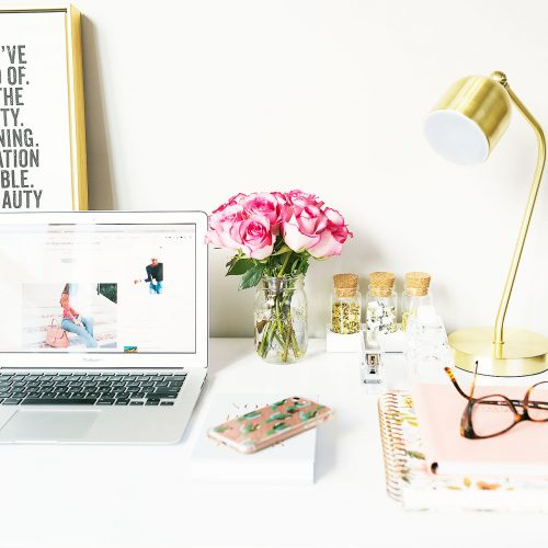Laptop featuring a blog on a styled table - part of my guide on top tips to make your self-assessment tax return easier